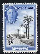 Nyasaland 1945 Fishing Village 3d unmounted mint from KG6 def set, SG 148*