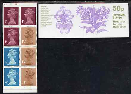 Booklet - Great Britain 1984-85 Orchids #1 (Dendrobium nobile) 50p folded booklet complete with cyl number, SG FB27