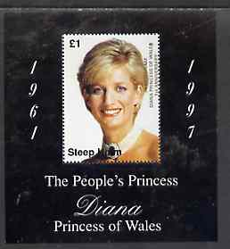 Steep Holm 1998 Diana, The People's Princess perf souvenir sheet #2 (�1 value Portrait with black frame) opt'd In Memorium, 1st Anniversary unmounted mint