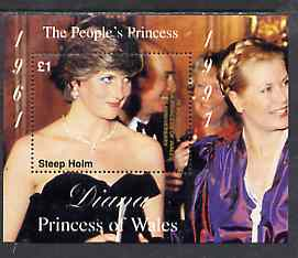 Steep Holm 1998 Diana, The People's Princess perf souvenir sheet #1 (�1 value 'Attending a Function')  opt'd In Memorium, 1st Anniversary unmounted mint