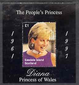 Easdale 1998 Diana, The People's Princess perf souvenir sheet #2 (�1 value Portrait with black background)  overprinted In Memorium, 1st Anniversary unmounted mint