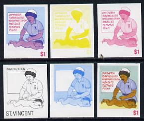 St Vincent 1987 Child Health $1 (as SG 1052) set of 6 progressive proofs comprising the 4 individual colours plus 2 and 3-colour composites unmounted mint