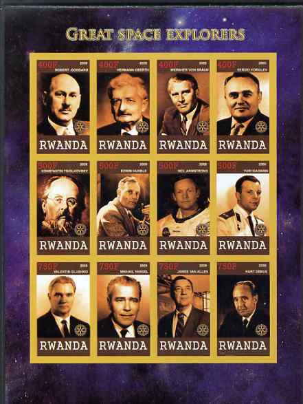 Rwanda 2009 Great Space Explorers & Scientists imperf sheetlet containing 12 values unmounted mint each with Rotary Logo (Goddard, Von braun, Hubble,Armstrong, Gagarin, van Allen etc)