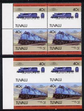 Tuvalu 1985 Locomotives #5 (Leaders of the World) 40c (GM SD-50) in unmounted mint imperf block of 4 (2 se-tenant pairs as SG 350a) plus matched normal perf block