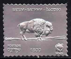 Batum 1994 Bison 1800 value in silver foil from WWF set of 4 unmounted mint