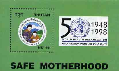 Bhutan 1998 World Health Organisation 15nu m/sheet unmounted mint, stamps on united nations, stamps on  who , stamps on medical