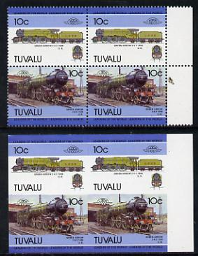Tuvalu 1985 Locomotives #5 (Leaders of the World) 10c 'Green Arrow 2-6-2' in unmounted mint imperf block of 4 (2 se-tenant pairs as SG 348a) plus matched normal perf block