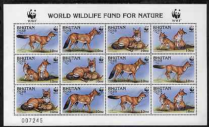 Bhutan 1997 WWF Endangered Animals (Dhole) unmounted mint sheetlet containing 12 values (3 sets)