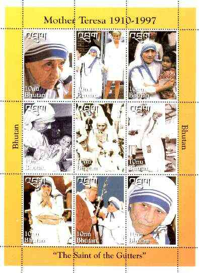 Bhutan 1997 Mother Teresa Commemoration sheetlet containing set of 9 values (with Pope & Princess Di) unmounted mint SG 1262-70