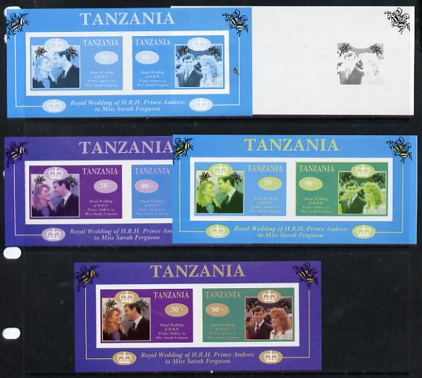 Tanzania 1986 Royal Wedding (Andrew & Fergie) the unissued imperf m/s containing 30s & 90s values, set of 5 progressive proof sheets unmounted mint