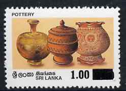 Sri Lanka 1997 surcharged 1r on 8r50 Pottery unmounted mint, SG 1366*