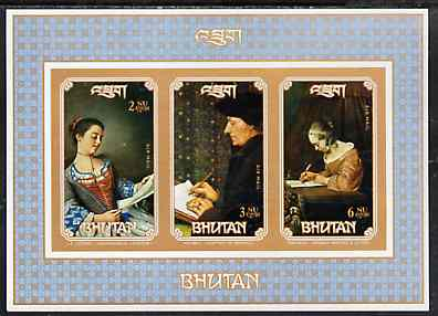 Bhutan 1993 Paintings (People Writing) unmounted mint imperf m/sheet, as SG MS 1015
