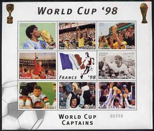 Bhutan 1998 Football World Cup unmounted mint sheetlet of 9 World Cup Captains (8 stamps plus label)