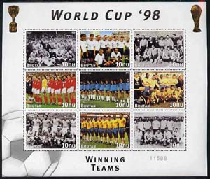 Bhutan 1998 Football World Cup unmounted mint sheetlet of 9 Winning Teams  (8 stamps plus label)