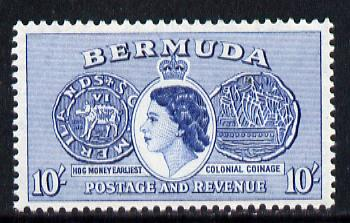 Bermuda 1953-62 Hog Coin 10s from def set unmounted mint, SG 149*