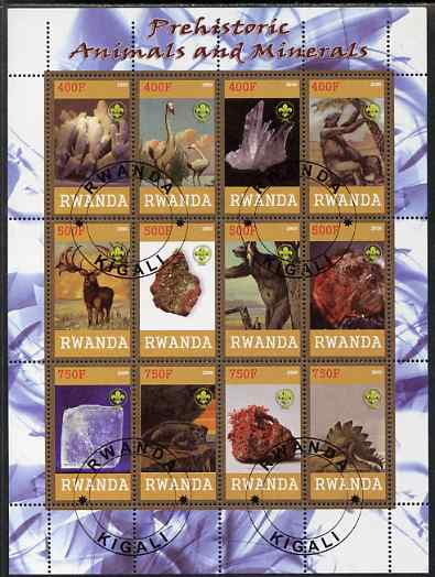 Rwanda 2009 Prehistoric Animals & Minerals perf sheetlet containing 12 values cto used each with Scout Logo