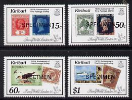 Kiribati 1990 150th Stamp Anniversary set of 4 opt'd SPECIMEN (as SG 322-5) unmounted mint