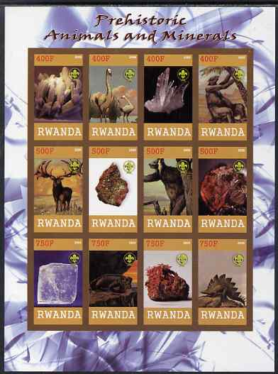 Rwanda 2009 Prehistoric Animals & Minerals imperf sheetlet containing 12 values unmounted mint each with Scout Logo