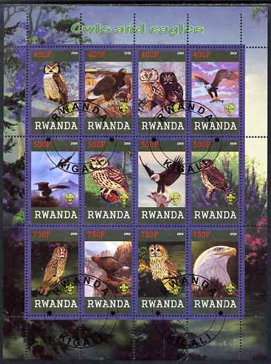 Rwanda 2009 Owls and Eagles perf sheetlet containing 12 values cto used each with Scout Logo