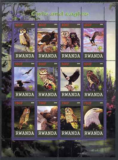 Rwanda 2009 Owls and Eagles perf sheetlet containing 12 values unmounted mint each with Scout Logo