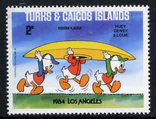 Turks & Caicos Islands 1984 Huey, Dewey & Louie in Kayak Race 2c from Walt Disney Olympic Games set, SG 788 unmounted mint