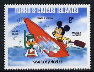 Turks & Caicos Islands 1984 Mickey Mouse in Kayak (with Snorkel Diver) 2c from Walt Disney Olympic Games set, SG 789 unmounted mint