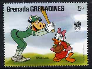 Grenada - Grenadines 1988 Clarabelle & Daisy playing Baseball 5c from Walt Disney Olympic Games set, SG 937 unmounted mint