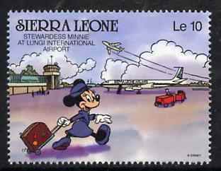 Sierra Leone 1980 Minnie Mouse at Lungi Airport 10L from Walt Disney 'Scenes' set, SG 1430 unmounted mint, stamps on airport
