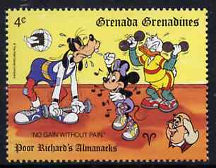 Grenada - Grenadines 1989 Weightlifting & Exercising 4c from Walt Disney Expo 89 set, SG 1199 unmounted mint