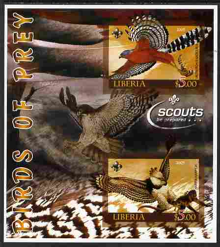 Liberia 2005 Birds of Prey imperf sheetlet containing 2 values unmounted mint (with Scouts Logo)