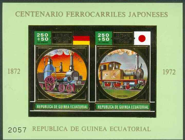 Equatorial Guinea 1972 Japanese Trains Centenary m/sheet containing 2 vals (Steam trains 250+50p) in gold with green background (Mi BL A39) most attractive, unmounted min...
