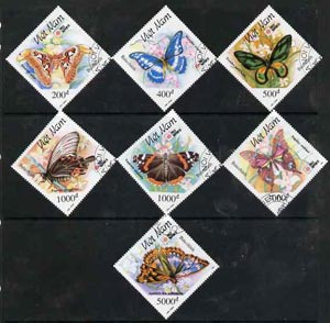 Vietnam 1991 Phila Nippon 91 Stamp Exhibition (Butterflies & Moths) complete perf diamond shaped set of 7 fine cto used, SG 1628-34*