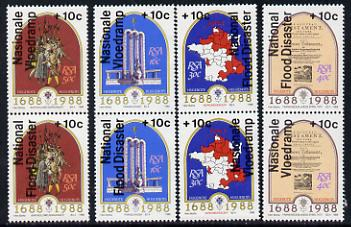 South Africa 1988 National Flood Relief overprint on Huguenots set of 4 se-tenant pairs unmounted mint, SG 641-48