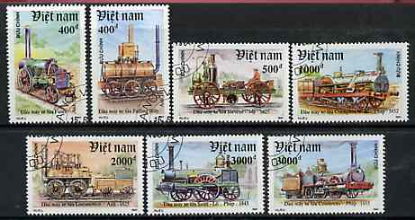 Vietnam 1991 Early Locomotives complete perf set of 7 fine cto used, SG 1578-81*