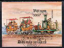 Vietnam 1991 Early Locomotives imperf m/sheet fine cto used (from limited printing) as SG MS 1585