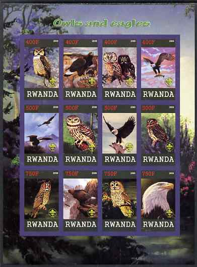 Rwanda 2009 Owls and Eagles imperf sheetlet containing 12 values unmounted mint each with Scout Logo