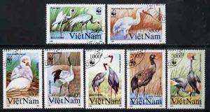 Vietnam 1991 WWF - Cranes complete perf set of 7 fine cto used, SG 1557-63*