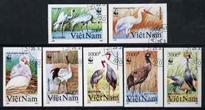 Vietnam 1991 WWF - Cranes complete imperf set of 7 fine cto used (from limited printing) as SG 1557-63*
