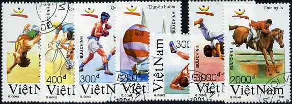 Vietnam 1991 Barcelona Olympic Games complete perf set of 7 fine cto used, SG 1536-42*