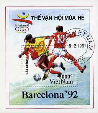 Vietnam 1991 Barcelona Olympic Games perf m/sheet (Football) fine cto used, SG MS 1543