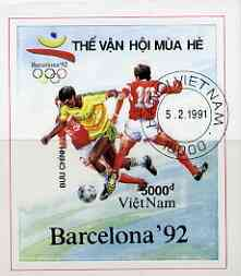 Vietnam 1991 Barcelona Olympic Games imperf m/sheet (Football) fine cto used (from limited printing) as SG MS 1543