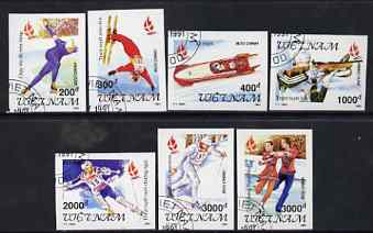 Vietnam 1991 Albertville Winter Olympic Games complete imperf set of 7 fine cto used (from limited printing) as SG 1607-13*