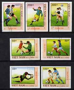 Vietnam 1989 Football World Cup (1st Issue) imperf set of 7 fine cto used (from limited printing) as SG 1313-19*