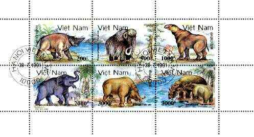 Vietnam 1991 Prehistoric Animals perf sheetlet containing complete set of 6 fine cto used, SG 1615-20