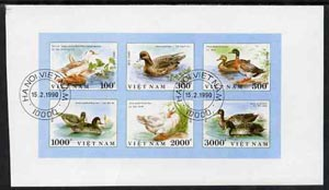 Vietnam 1990 Ducks imperf sheetlet containing complete set of 6 fine cto used (from limited printing) as SG 1390-95