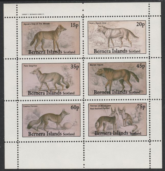 Bernera 1982 Wild Dogs (Aguara, Dog-Fox, etc) perf set of 6 values (15p to 75p) unmounted mint