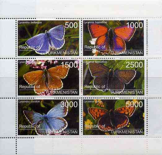 Turkmenistan 1998 Butterflies perf sheetlet containing complete set of 6 values unmounted mint