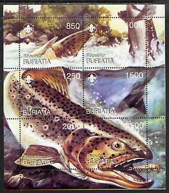 Buriatia Republic 1998 Fish composite sheet comprising set of 6 values with Scout Logo unmounted mint