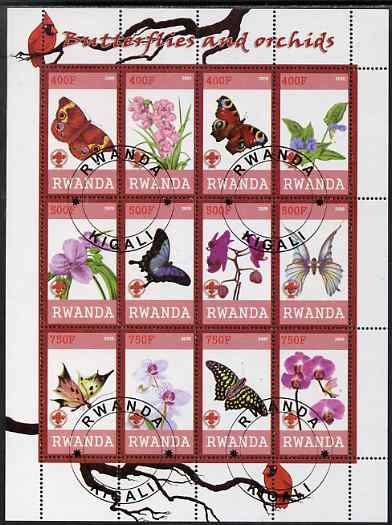Rwanda 2009 Butterflies and Orchids perf sheetlet containing 12 values cto used