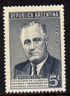 Argentine Republic 1946 First Death Anniversary of Pres Franklin Roosevelt unmounted mint, SG 777